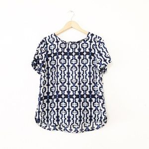 ABS Platinum Blue White Abstract Print Top